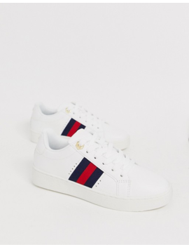 River Island Lace Up Trainer With Side Stripe In White by River Island