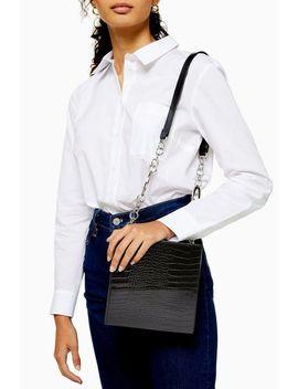 Black Crocodile Boxy Shoulder Bag by Topshop