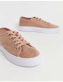 Asos Design Wide Fit Dusty Lace Up Trainers In Warm Beige by Asos Design
