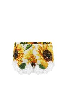 Sunflower Print Lace Trimmed Silk Shorts by Dolce & Gabbana