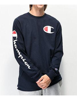 Champion Big C Navy Long Sleeve T Shirt by Champion