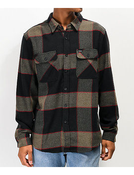 Brixton Bowery Grey & Charcoal Flannel Shirt by Brixton