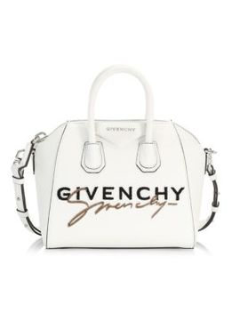 Mini Antigona Fuzzy Logo Leather Satchel by Givenchy