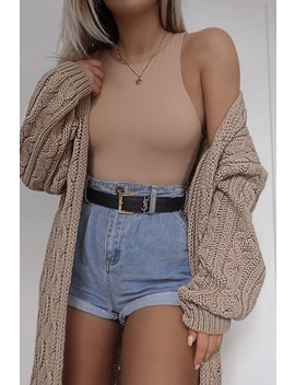 Fashion Influx Stone Cable Knit Midaxi Cardgian by In The Style