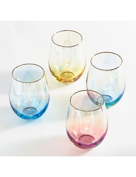 Colorful Stemless Wine Glasses by Paper Source