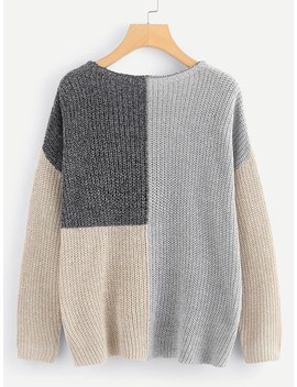 Drop Shoulder Color Block Sweater by Romwe