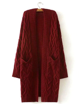 Solid Drop Shoulder Cable Knit Coat by Romwe