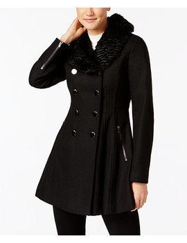 Faux Fur Collar Double Breasted Skirted Coat, Created For Macy's by General