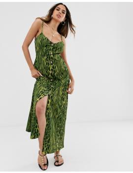 Asos Design Button Through Maxi Dress In Green Animal Print by Asos Design