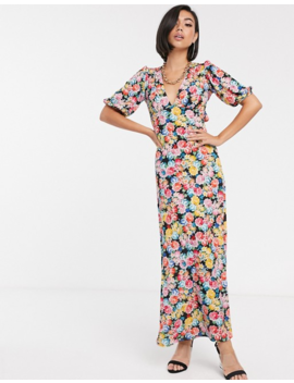 Asos Design Maxi Tea Dress With Strappy Back In Floral Print by Asos Design