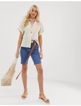 Asos Design Recycled Denim Farleigh High Rise Longline Shorts In Blue by Asos Design
