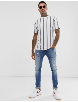Pull&Bear T Shirt With Vertical Stripe In White by Pull&Bear