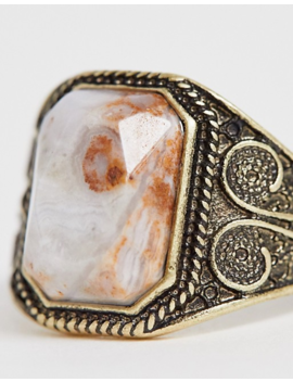 Asos Design Semi Precious Stone Ring In Burnished Gold by Asos Design