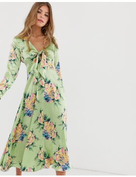 asos-design-tie-front-midi-dress-in-vintage-floral-print by asos-design