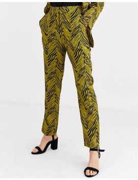 Liquorish Suit Pants Two Piece In Gold And Black Abstract Print by Liquorish