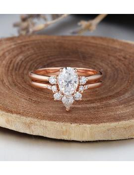 Oval Moissanite Engagement Ring Set Rose Gold Engagement Ring Curved Wedding Band Cluster Bridal Jewelry Promise Anniversary Gift For Women by Etsy