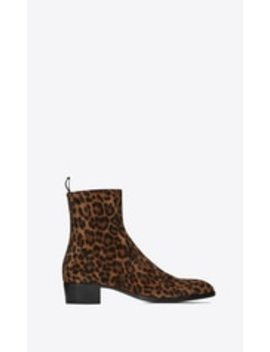 Wyatt Zippered Suede Boots With Leopard Print by Saint Laurent