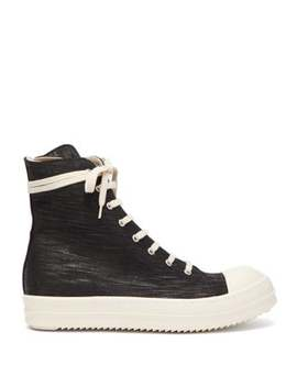 High Top Coated Canvas Trainers by Rick Owens Drkshdw