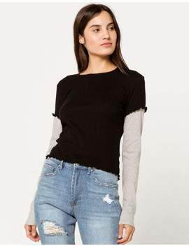 Nikxie Solid 2 Fer Black Womens Tee by Tilly's