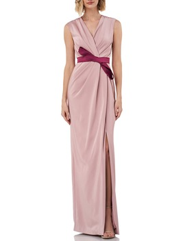 Contessa Stretch Faille Column Gown by Kay Unger