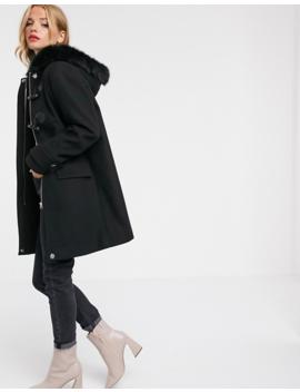 asos-design-duffle-coat-with-faux-fur-trim-in-black by asos-design