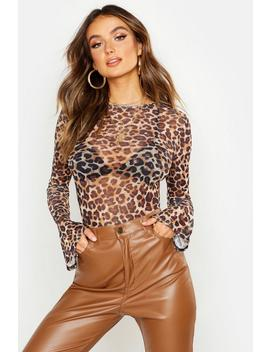 leopard-mesh-flared-sleeve-bodysuit by boohoo