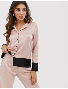 Bluebella Drew Satin Revere Pyjama Set With Boarder Detail In Pink by Blue Bella