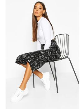 Belted Woven Polka Dot Culottes by Boohoo