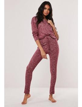 Rose Soft Knit Long Sleeve Loungewear Tracksuit by Missguided