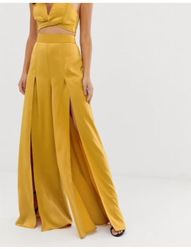 asos-design-satin-wide-leg-pants-two-piece-with-splits by asos-design