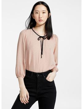 Romantic Dot Ruffle Collar Blouse by Icône