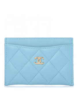 Chanel Lambskin Quilted Card Holder Light Blue by Chanel
