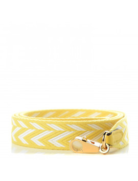 Hermes Toile Swift 25mm Sangle Zig Zag Shoulder Strap Jaune De Naples White by Hermes