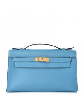 Hermes Swift Kelly Pochette Clutch Bleu Du Nord by Hermes