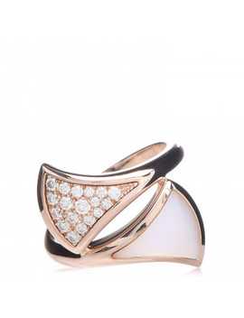 Bulgari 18 K Rose Gold Mother Of Pearl Diamond Divas' Dream Ring 54 6.75 by Bulgari