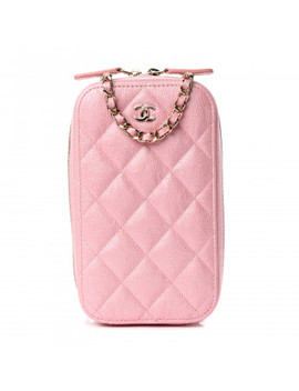 Chanel Iridescent Caviar Quilted Zip Phone Case Pink by Chanel