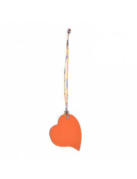 Hermes Togo Epsom Petit H Heart Bag Charm Orange Colvert by Hermes