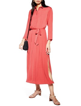 Satin Pleated Shirtdress by Topshop