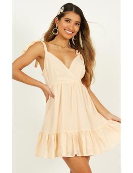 Rich Visions Dress In Textured Peach Spot by Showpo Fashion