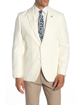 White Solid Two Button Notch Lapel Suit Separates Jacket by Nautica