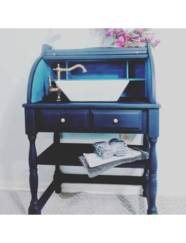 Gorgeous Blue Bath Vanity. Ready To Ship. Ready For Your Plumber To Hook Up. Price Includes Shipping And Handling. Repurposed Secretary Desk by Etsy
