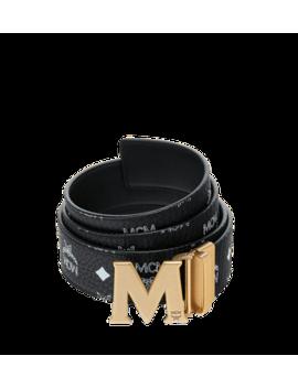 "Antique M Reversible Belt 1.75"" In White Logo Visetos by Mcm"