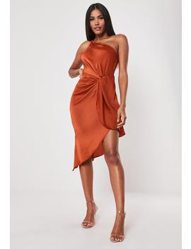 Orange One Shoulder Drape Midi Dress by Missguided