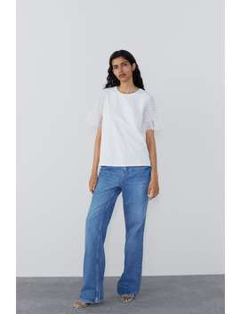 T Shirt With Dotted Mesh Sleevestops Woman by Zara