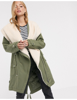 Asos Design Waterfall Parka With Fleece Lining In Khaki by Asos Design