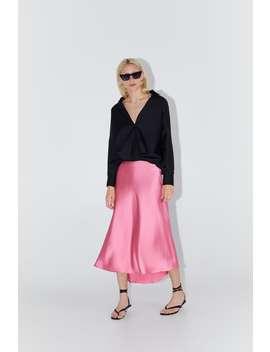 Satin Skirt Midi Skirts Woman by Zara