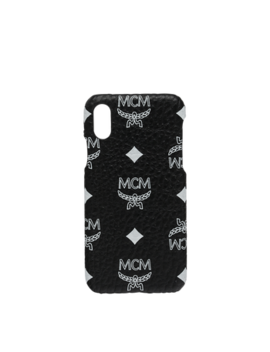 I Phone X Case In White Logo Visetos by Mcm