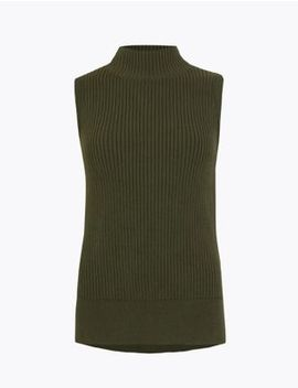 Knitted Ribbed Tank Top by Marks & Spencer
