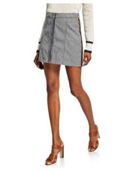 Ava Striped Mini Skirt W/ Tux Exposed Zipper by Veronica Beard