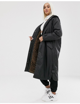 Asos Design Maxi Raincoat With Animal Fleece Lining by Asos Design